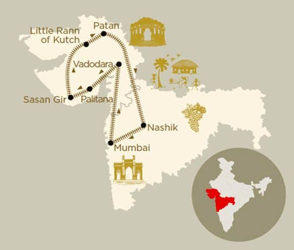 Mappa viaggio Hidden Treasures Of Gujarat a bordo del treno di lusso Deccan Odyssey
