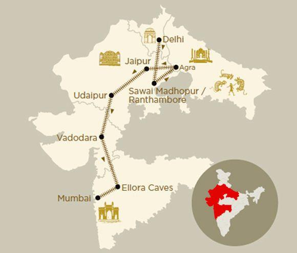 Mappa viaggio Indian Odyssey a bordo del treno di lusso Deccan Odyssey
