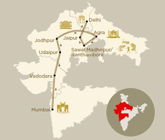 Mappa viaggio Indian Sojourn a bordo del treno di lusso Deccan Odyssey