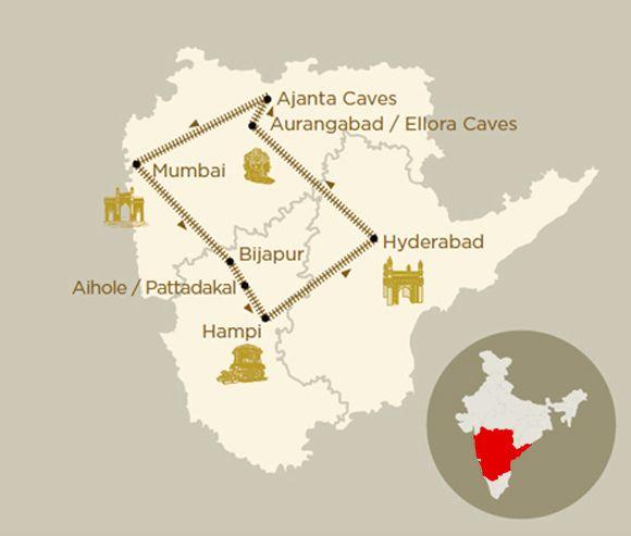 Mappa viaggio Jewels Of The Deccan a bordo del treno di lusso Deccan Odyssey