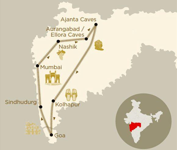 Mappa viaggio Maharashtra Splendor a bordo del treno di lusso Deccan Odyssey