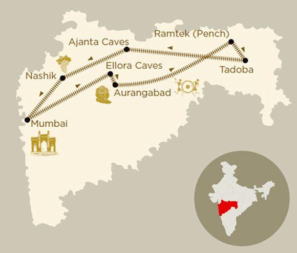 Mappa viaggio Maharashtra wild trail a bordo del treno di lusso Deccan Odyssey